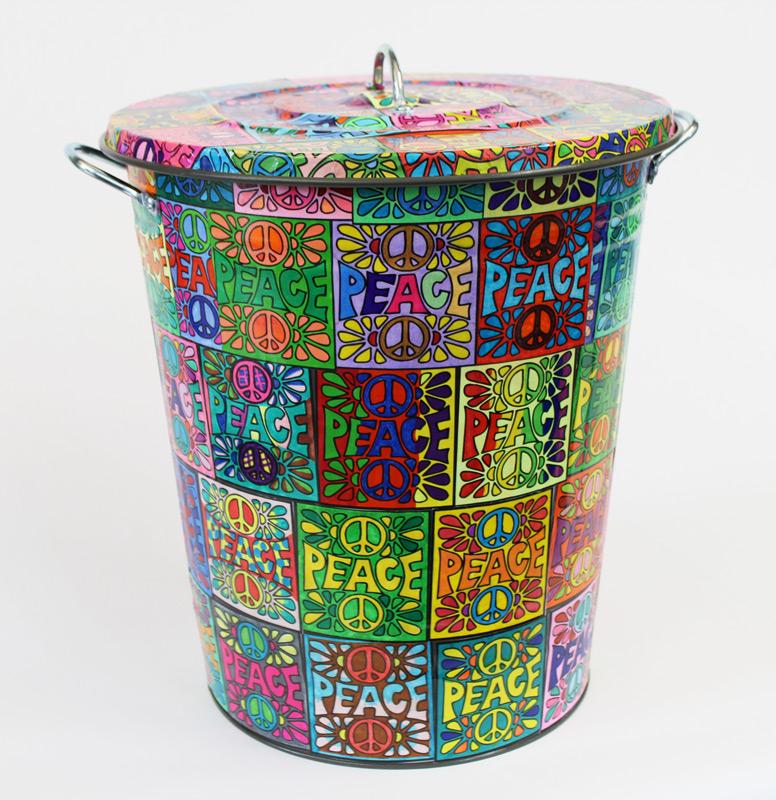 Peace Pop Art Trash Can