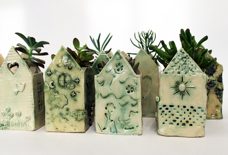 Row-home Planters with Succulents