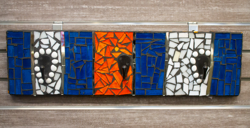 3 hooks with blue, orange, and white glass
