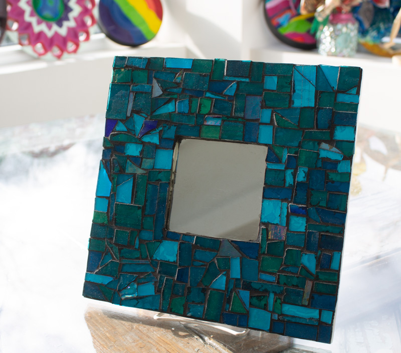 Square Mosaic Mirror with Blue Glass