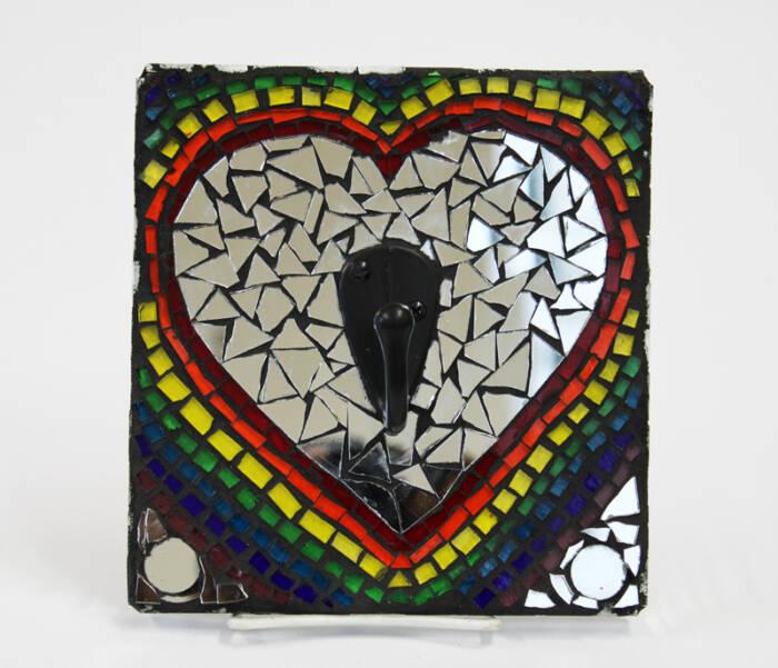 Rainbow Heart Mosaic Hook